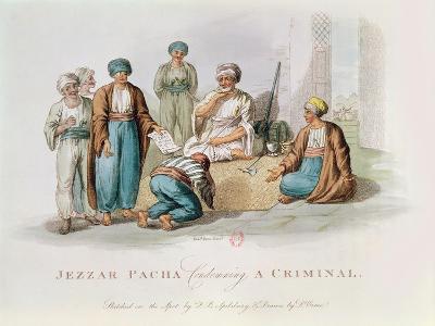 Jezzar Pacha (C.1720-1804) Condemning a Criminal (Colour Engraving)