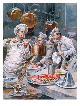 In the Kitchen', Preparations for Christmas Eve Dinner in a Paris Restaurant, from 'L'Illustration'