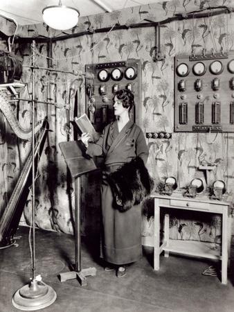 Beatrix Dussane in a Radio Recording Studio, C.1936 (B/W Photo)