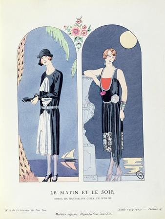 Day and Night, Plate 47 from 'La Gazette Du Bon Ton' Depicting Day and Evening Dresses, 1924-25