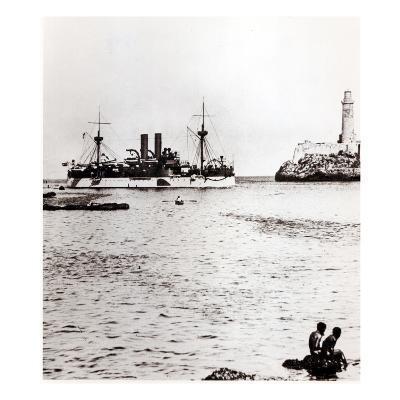 The Uss Maine Entering the Port of Havana, Cuba, 1898 (B/W Photo) (See 206526, 206527)