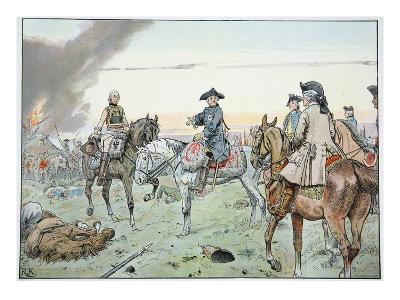 Frederick and Seydlitz at the Battle of Zorndorf on the 25th August 1758 (Colour Litho)