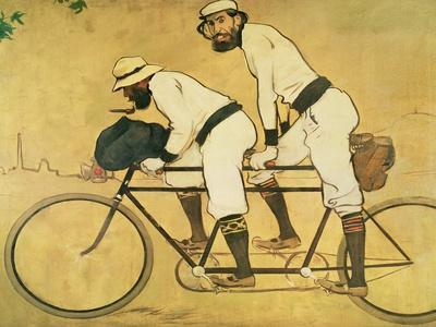 Self Portrait of Casas with Pere Romeu on a Tandem, 1897 (Oil on Panel)
