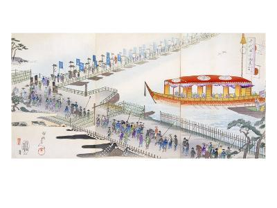 Attending a Festival: Crossing a Pontoon Bridge to the Sacred Site (Colour Woodblock Print)