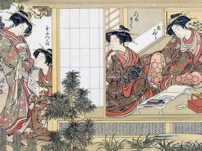 Japanese Women Reading and Writing (Colour Woodblock Print)