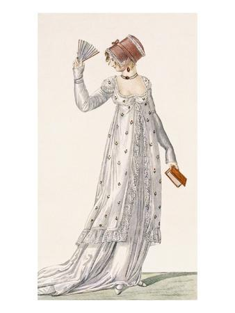 Ladies Evening Dress, Fashion Plate from Ackermann's Repository of Arts, Pub. 1814