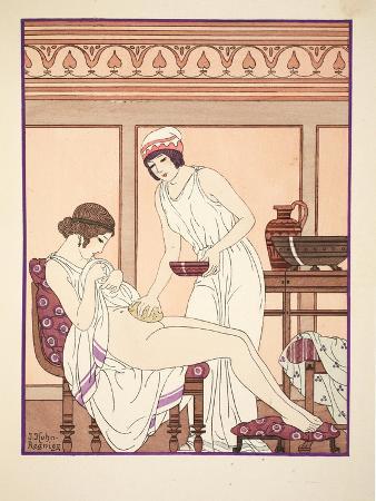 Sponge Bath, Illustration from 'The Works of Hippocrates', 1934 (Colour Litho)
