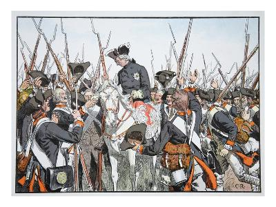 King Friederich and the Regiment Bernburg (Colour Litho)