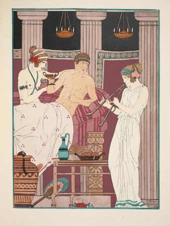Music Therapy, Illustration from 'The Works of Hippocrates', 1934 (Colour Litho)