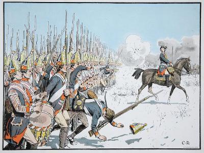 The Potsdam Guard Parade at Leuthen, 5 December 1757 (Colour Litho)