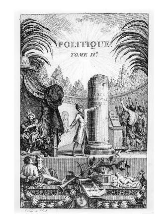 Frontispiece of ' Politique', Tome Ii of Jean-Jacques Rousseau (Engraving)