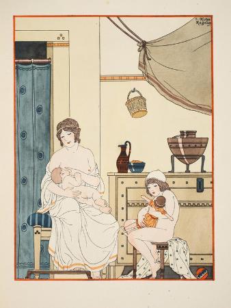 Nursing of Infants, Illustration from 'The Works of Hippocrates', 1934 (Colour Litho)