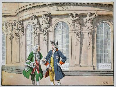 King Frederick and Voltaire (Colour Litho)
