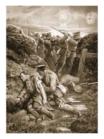 Captain Ranken Attending to the Wounded after His Thigh and Leg Had Been Shattered (Litho)