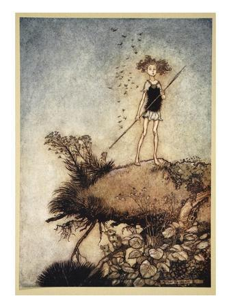 One Aloof Stand Sentinel, Illustration from 'Midsummer Nights Dream' by William Shakespeare, 1908