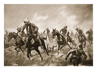 Jemadar Ram-Karan Leading His Troop under Heavy Rifle Fire Against the Enemy Who Were Retiring