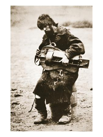 Russian Peasant Playing Hurdy Gurdy, C.1880S (Sepia Photo)