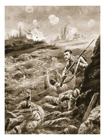 Private E. Warner Holding Singlehanded a Trench Which Had Been Evacuated Following a Gas Attack
