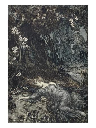 Titania Lying Asleep, Illustration from 'Midsummer Nights Dream' by William Shakespeare, 1908