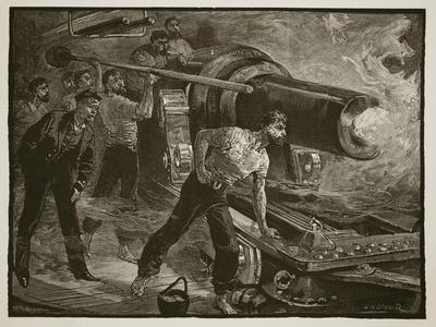 Naval Warfare: Working a Ship's Gun, Engraved by W.J. Palmer (Engraving)