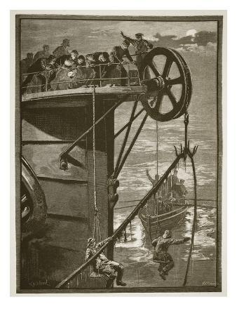 Modern Science: Picking Up a Telegraph Cable at Sea, Engraved by W.J. Palmer (Engraving)