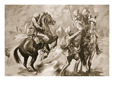 Risaldar Faiz Muhammad Khan and a Sowar Rescuing Two Wounded Sepoys (Litho)