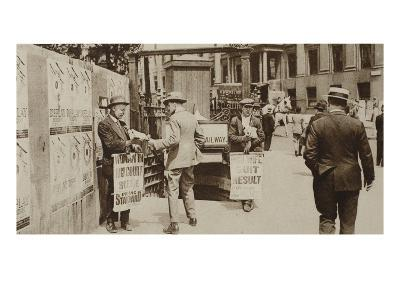 Newspaper Sellers in Trafalgar Square, from 'Wonderful London', Published 1926-27 (Photogravure)