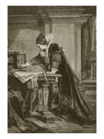 Queen Elizabeth Signing the Death Warrant of Mary Queen of Scots, Engraved  by C  Butterworth