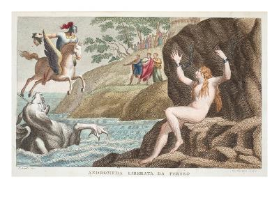 Perseus and Andromeda, Book IV, Illustration from Ovid's Metamorphoses, Florence, 1832