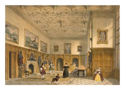 Bat Game in the Grand Hall, Parham Park, Sussex, C.1600 from 'Architecture of the Middle Ages'