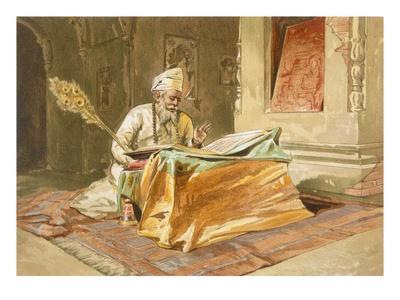 Sikh Priest Reading the Grunth, Umritsar, from 'India Ancient and Modern', 1867 (Colour Litho)