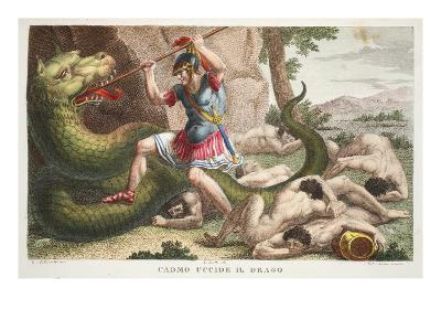 The Serpent Is Killed by Cadmus, Illustration from Ovid's Metamorphoses, Florence, 1832