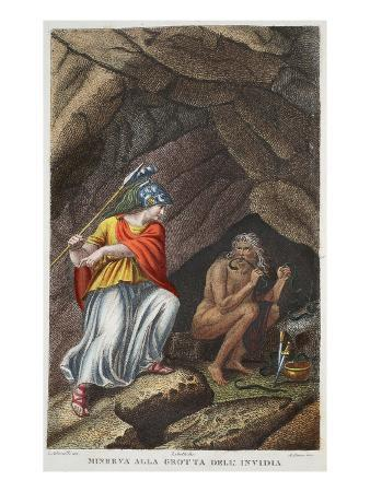 Minerva Visits Envy, Illustration from Ovid's Metamorphoses, Florence, 1832