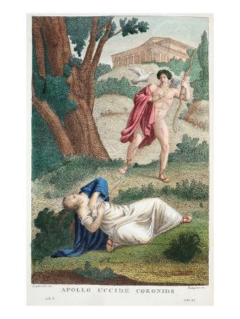 Coronis Is Killed by Apollo, Illustration from Ovid's Metamorphoses, Florence, 1832