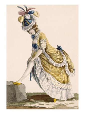 Lady Pulling Up Her Stocking, Engraved by Le Beau, Plate No.1