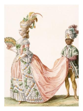 Lady's Elaborate Evening Gown, Engraved by Le Roi, from 'Galeries Des Modes Et Costumes Francais'