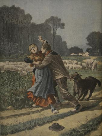 Shepherdess Defended by Her Dog, Illustration from 'Le Petit Journal: Supplement Illustre'