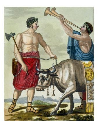 Sacrifice of a Bull, Illustration from 'L'Antique Rome', Engraved by Labrousse, Published 1796