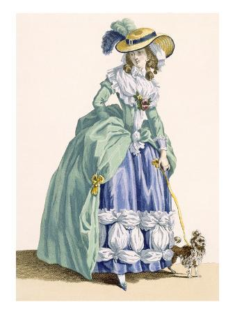 Lady Walking Her Dog, Engraved by Dupin, Plate No.190