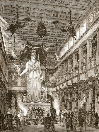 Interior of the Parthenon, Restored (Litho)