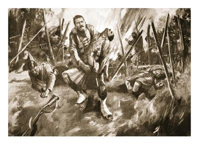 Drummer Kenny Rescuing a Comrade under Very Heavy Fire (Litho)