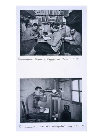 Top: Debenham, Gran and Taylor in their Cubicle. Bottom: Dr Simpson at the Unifilar Magnetometer
