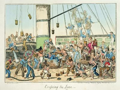 Crossing the Line', Illustration from a Series of Prints on Life in the Navy, 1825 (Colour Litho)