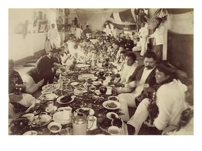 Royal Banquet at King Kalakana's Boat House, C.1875 (Sepia Photo)