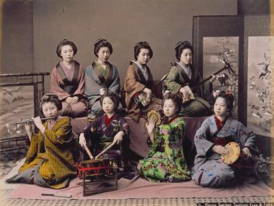 Group of Geisha Girls Playing Musical Instruments (Hand Coloured Albumen Print on Card)
