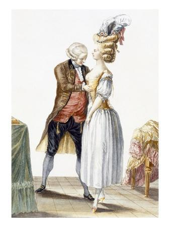 Elegant Lady at a Fitting with Her Tailor, Plate from 'Galerie Des Modes Et Costumes Francais'