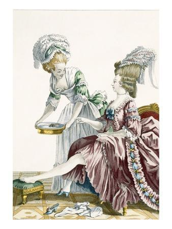 An Elegant Woman Washing Her Feet, Plate 32 from 'Galerie Des Modes Et Costumes Francais'