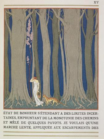Woman Followed by a Leopard, Illustration from 'Les Mythes' by Paul Valery (1871-1945)