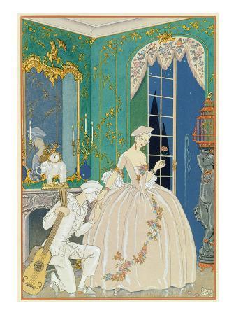 Illustration for 'Fetes Galantes' by Paul Verlaine (1844-96) 1923 (Pochoir Print)
