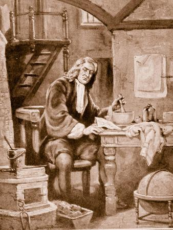 Sir Isaac Newton in His Little Room (Litho)